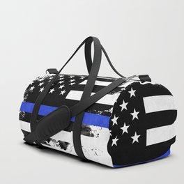 Distressed Thin Blue Line American Flag Duffle Bag