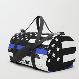 Distressed Thin Blue Line American Flag Duffle Bag