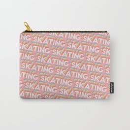 Skating Trendy Rainbow Text Pattern (Pink) Carry-All Pouch