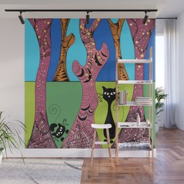 Cats in the Forest Wall Mural