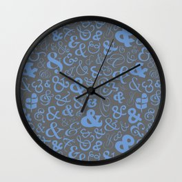 Ampersands - Blue Gray Wall Clock