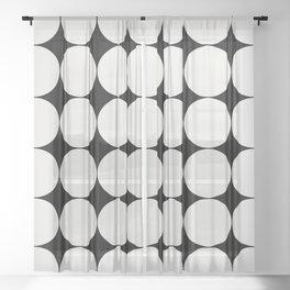 Circular Minimalism - Black & White Sheer Curtain