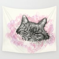 kitty Wall Tapestries featuring Kitty by Felicity Du