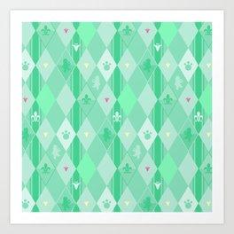 Green Lily Bear Art Print