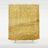 gold glitter Shower Curtains featuring Glitter Gold by Alice Gosling