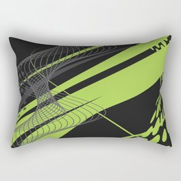 Green Black Abstract Future Technical Rectangular Pillow