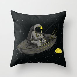 Lonely fishing Throw Pillow