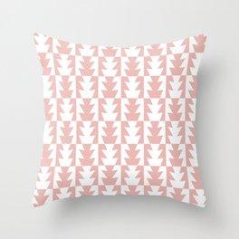 Art Deco Jagged Edge Pattern Dusty Rose Throw Pillow