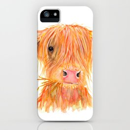 Scottish Highland Cow ' FERGUS ' by Shirley MacArthur iPhone Case