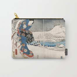 Japanese Vintage Kunisada Hiroshige Snowy Landscape Carry-All Pouch