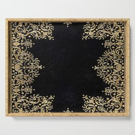 Black and Gold Filigree Serving Tray