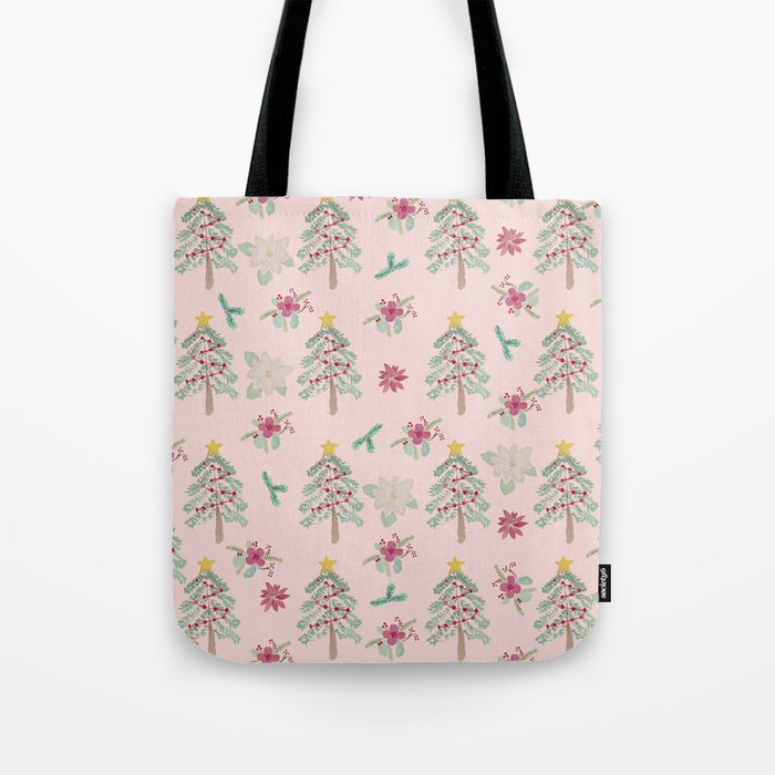 Christmas Pattern Pink Tote Bag