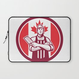 Canadian Butcher Front Canada Flag Icon Laptop Sleeve