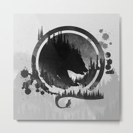 Bear and Fox In The Mountains Metal Print