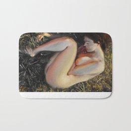 Woman among the grass Bath Mat