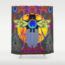 MYSTIC BLACK  BEETLE BLUE PEACOCK MOON ART Shower Curtain