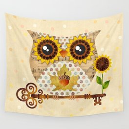 Owl's Autumn Song Wall Tapestry