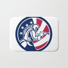 American Sandblaster Abrasive Blasting USA Flag Icon Bath Mat