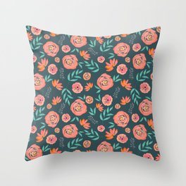Pretty Coral Watercolor Floral Pattern on Green Throw Pillow