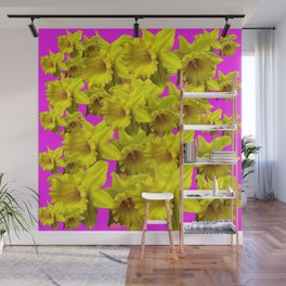 YELLOW SPRING DAFFODILS ON  VIOLET PURPLE ART Wall Mural