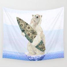 Polar bear & Surf (black) Wall Tapestry