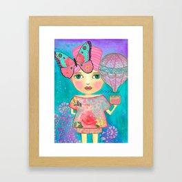 Be Free Mixed Media Whimsical Girl Framed Art Print