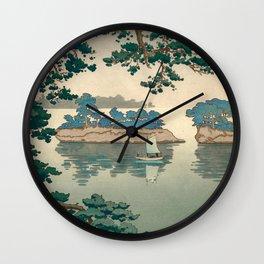 Tsuchiya Koitsu - Rain at Matsushima - Japanese Vintage Woodblock Painting Wall Clock