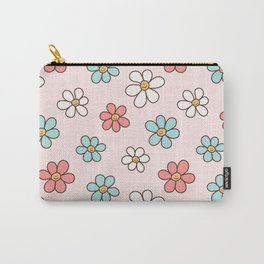 Cute Happy Colorful Smiling Daisies, Retro Smile Daisy Pattern in Soft Girly Pastel Blush, Pink and Mint Color Carry-All Pouch