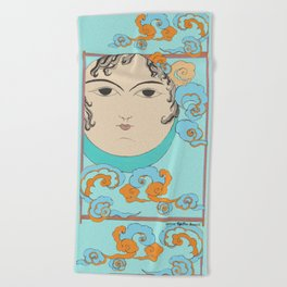 Turquoise Moon face Beach Towel