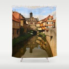 Medieval Village Reflection Shower Curtain