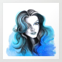 Aqua and Dark Blue Flame Hair Art Print