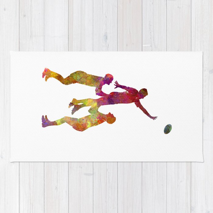 Rugby men players 01 in watercolor Rug