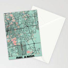 Orlando - United States Peony City Map Stationery Cards