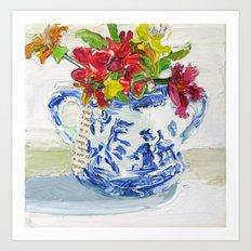 Bouquet in Blue Willow Art Print