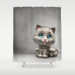 gray kitten Shower Curtain