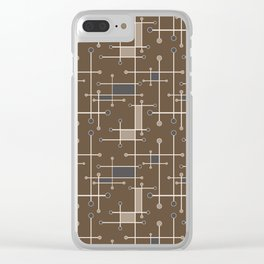 Intersecting Lines in Brown, Tan and Gray Clear iPhone Case