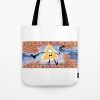 bill cipher Tote Bags featuring Bill Cipher by Vaahlkult