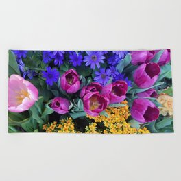 Floral Spectacular: Blue, Plum and Gold - Olbrich Botanical Gardens Spring Flower Show, Madison, WI Beach Towel