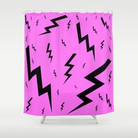 lightning Shower Curtains featuring Black Lightning by Silvio Ledbetter