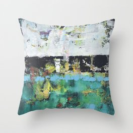 Aloe Abstract Painting Green Throw Pillow