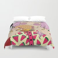 burger Duvet Covers featuring Burger by Phie Hackett
