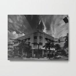 South Beach - Tudor Hotel 001 BW Metal Print