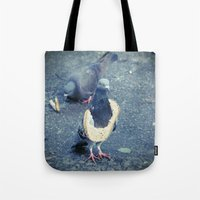hiphop Tote Bags featuring HipHop Dove Wife by Sigurdfisk