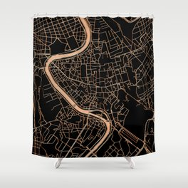 Black and gold Rome map Shower Curtain