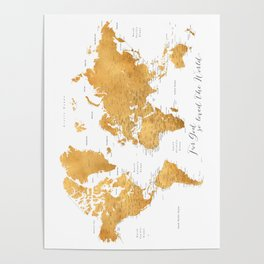 For God so loved the world, world map in gold Poster