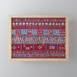 Tunisian Flatweave Antique Tribal Rug Print Framed Mini Art Print