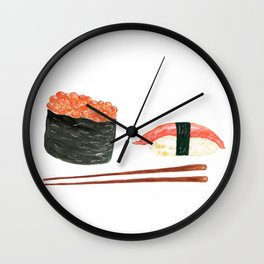 Watercolor Sushi Rolls And Chopsticks Wall Clock