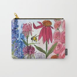 Watercolor Acrylic Cottage Garden Flowers Carry-All Pouch
