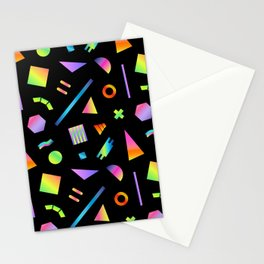 Neon Gradient Postmodern Shapes Stationery Cards