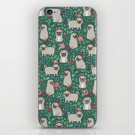 Pugs and summer flowers iPhone Skin